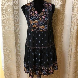 Style & Co floral printed black dress